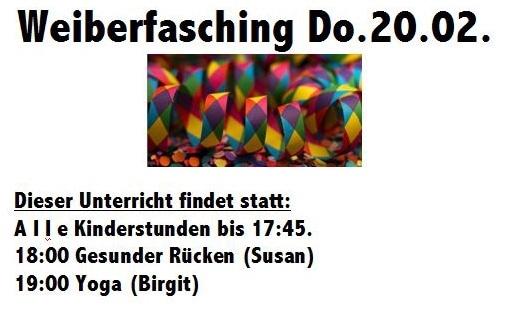 Weiberfasching - Änderungen bei Abend-Unterricht!