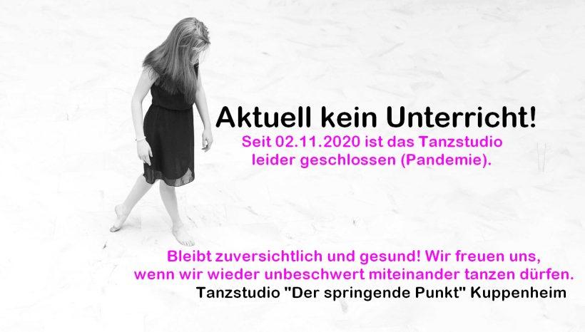 Tanzstudio seit 02.11.2020 erneut geschlossen (Pandemie)