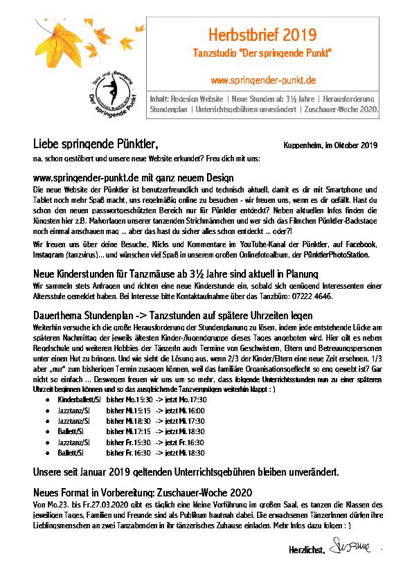 Herbstbrief 2019
