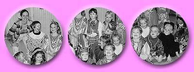Gruppenbilder der verkleideten Klassen