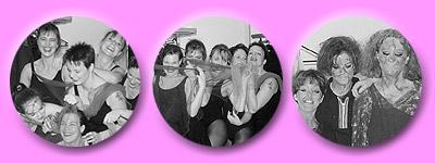kichernde Tänzerinnen, in Szene gebrachte Tüche rund wilde Mähnen