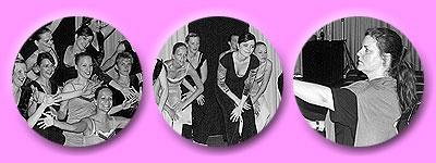 die Tänzerinnen gemeinsam auf der Bühne, Susanne die Choreographin