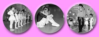 in Reih und Glied stehen die jungen Tänzerinnen, sie zeigen auch was mit einem Reifen alles möglich ist