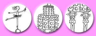 Ballerina-Fee auf Zehenspitzen, Torte, tragende Strichmännchen
