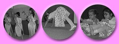 Tänzerinnen im pinken Frack, kleine Tänzerinnen in Erdbeer-Röcken