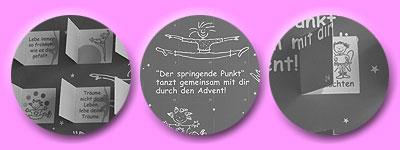 Aufschrift: Der springende Punkt tanzt mit dir durch den Advent