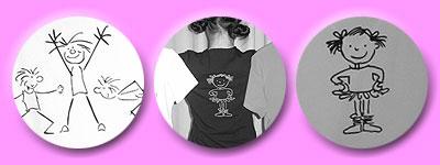 tanzende Strichmännchen auf T-Shirt