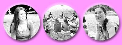 Mädels mit Picknick auf der grünen Wiese