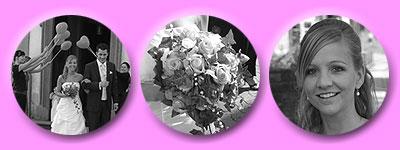 Herzballonspalier, Brautstrauß,glückliche Braut