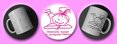 Tasse mit Punkten, Bild Schmunzellende, himmlische Auszeit für springende Pünktler- alles in pink