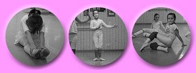 sich dehnende Tänzerin, moderne Positionen