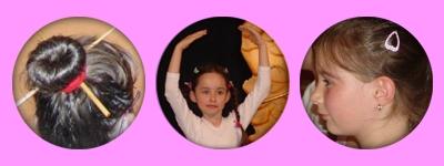 kunstvolle Frisuren und konzentrierte Gesichter kleiner Tänzerinnen