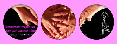 Gemeinsam tragen wir Dich (das Geburtstagskind) auf unseren Händen. Happy Birthday!