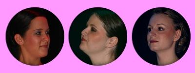 Samantha, Clarissa, Maike lächelnd,beseelt, im Glück