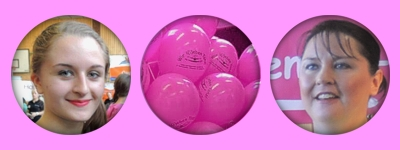Stets ein Lächeln, pinke Luftballons