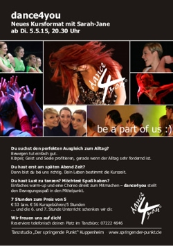 Flyer neues Kursformat dance4you