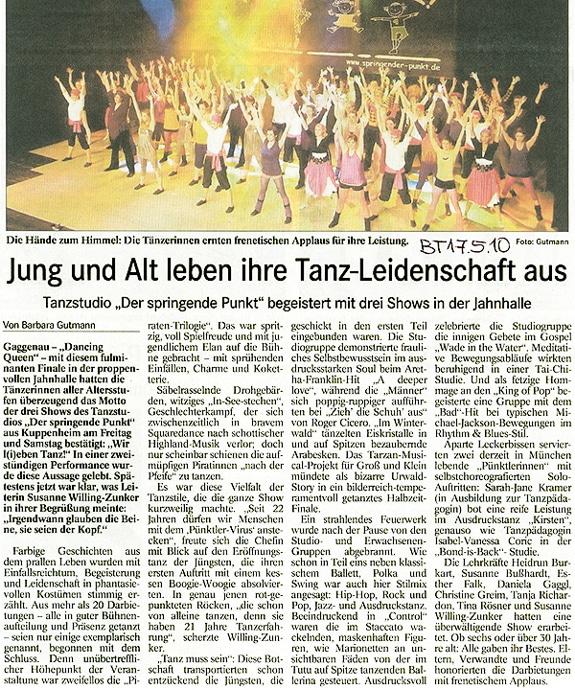 Jung und Alt leben ihre Tanz-Leidenschaft aus Tanzshows 2010 Springender Punkt