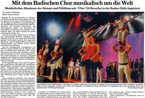zweite Aufführung, in 80 Tagen um die Welt, Badischer Chor Wintersdorf, Kooperation Tanzstudio