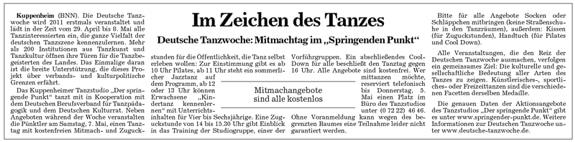 Erste deutsche Tanzwoche, Mitmachtag im Tanzstudio Kuppenheim