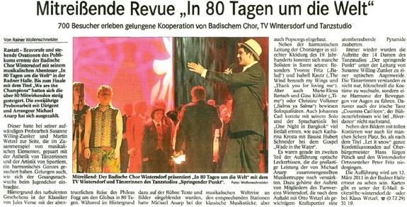 Musikalische Reise um die Welt, Kooperation Badischer Chor und Tanzstudio, mitreißende Revue