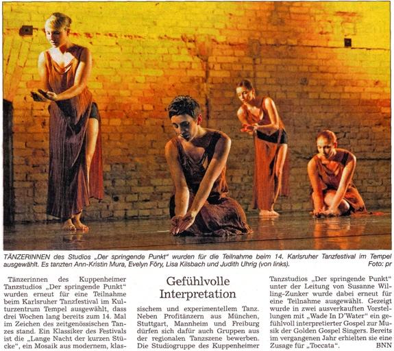 gefühlvolle Interpretation der Kuppenheimer, erneute Teilnahme beim TANZ-Festival Karlsruhe