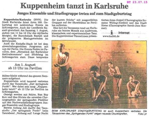Junges Ensemble und Studiogruppe vertreten Kuppenheim tanzend, Feline, Run Boy Run, Que Hiciste