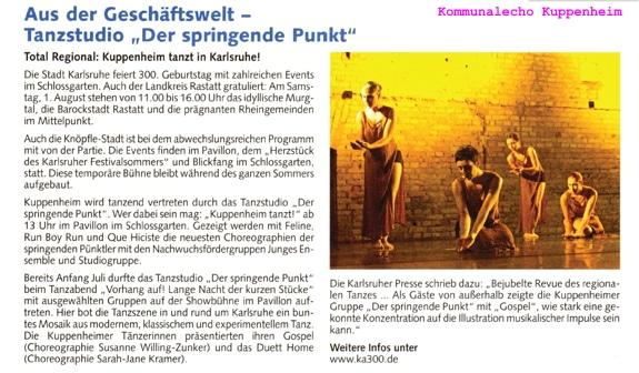 Kuppenheimer Tanzstudio zeigt neueste Choreografien in Karlsruhe, Knöpfle-Stadt gratuliert Karlsruhe zum 300. Geburtstag