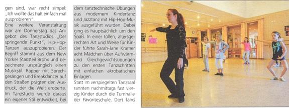 Hip-Hop für Kinder ausprobieren mit Sara-Jane Kramer, Tanzstudio beim Kinderferienprogramm Kuppenheim