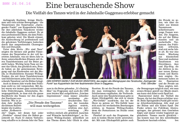 Berauschende Show, Vielfalt des Tanzes, Jahnhalle Gaggenau ausverkauft