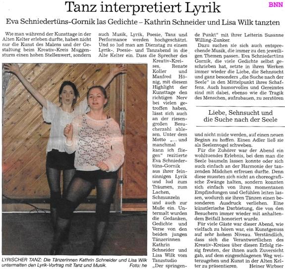 Tanz interpretiert Lyrik, Muggensturmer Kunsttage 2017, Kathrin Schneider und Lisa Wilk
