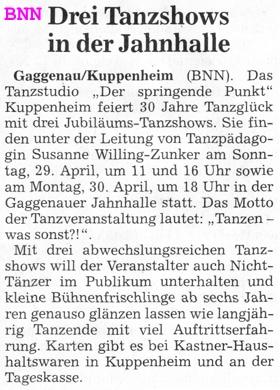 Vorankündigung Tanzshows 2018 Jahnhalle Gaggenau