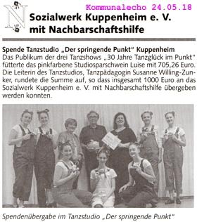 Spende an Sozialwerk und Nachbarschaftshilfe Kuppenheim 1.000 ,- €, Studiosparschwein Luise